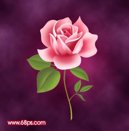 Photoshop制作一朵粉红色的卡通玫瑰花 入门与实例 基础教学