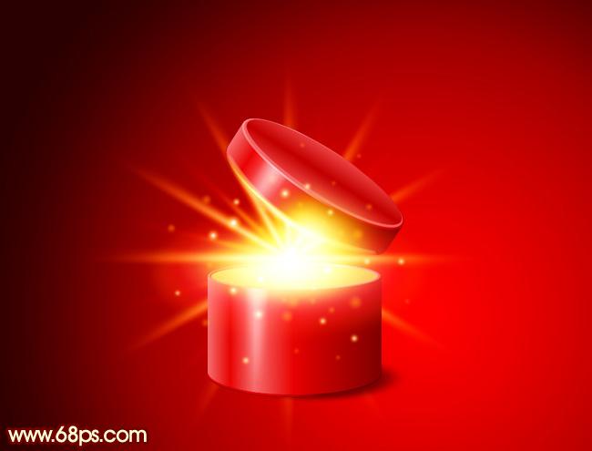 其实光也是可以拆分的,由底层的放射光束,中间的高光区域及顶层的小点