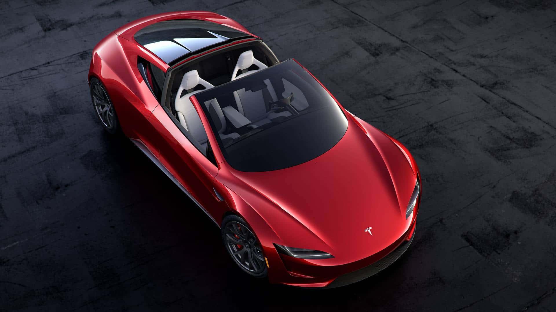 Tesla Roadster with roof down